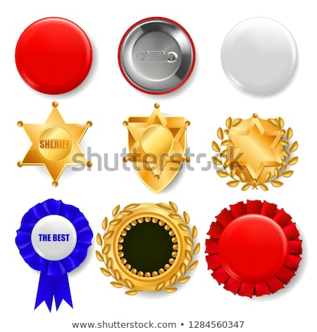 Badge Set Vector. Plastic And Golden Empty Button. Sale Symbol. Best Quality Product Emblem. Hexagon Stock photo © pikepicture
