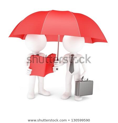 Işadamı şemsiye kriz yalıtılmış beyaz finansal Stok fotoğraf © alphaspirit
