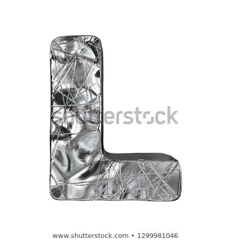 Grunge alumínium betűtípus l betű 3D 3d render Stock fotó © djmilic