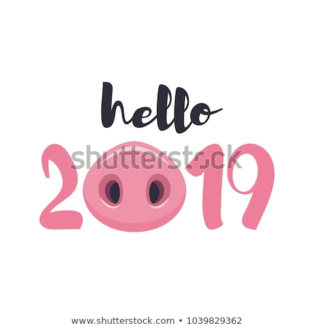 Hello Winter and Happy Holidays Postcard with Pig Stock photo © robuart