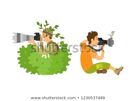 Photojournalist with Camera Gear Makes Zoom Vector Stock photo © robuart