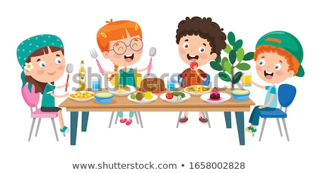 vegetables and fruit sandwich with milk on table stock photo © robuart
