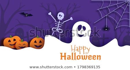 halloween pumpkins with spiders and cobweb Stock photo © dolgachov