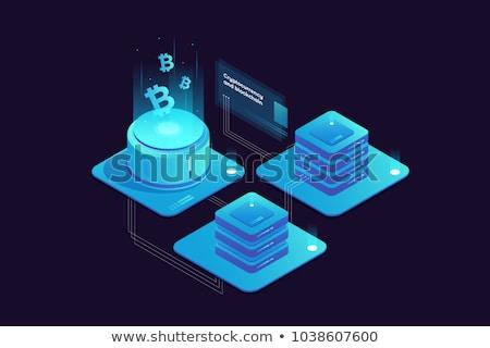 Blockchain outline isometric icons Stock photo © netkov1