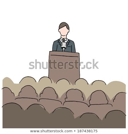 rajz · férfi · készít · beszéd · feketefehér · illusztráció - stock fotó © bennerdesign