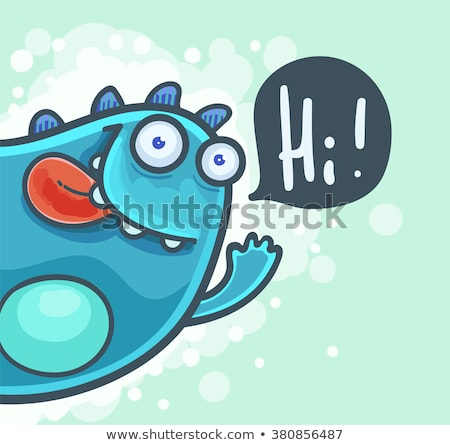 happy cute monster cartoon character waving with speech bubble stock photo © hittoon