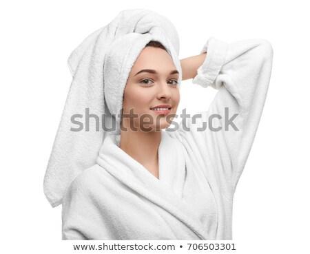 Gyönyörű fiatal nő fürdőkád fehér fürdő bőrápolás Stock fotó © artfotodima