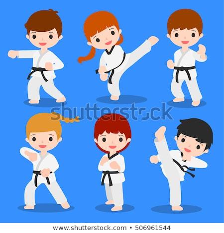 Szett karate gyerekek illusztráció sport háttér Stock fotó © bluering