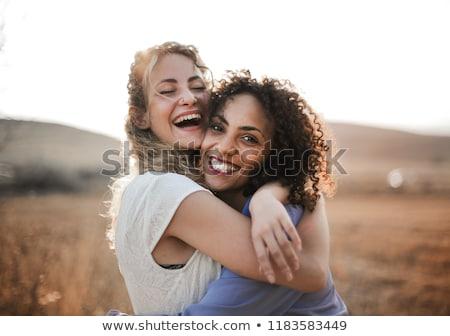 legjobb · barátok · ölel · kettő · boldog · lányok · felirat - stock fotó © jossdiim