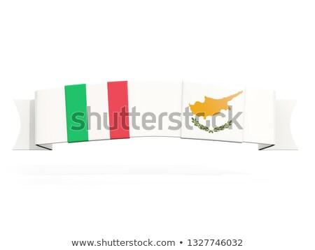 баннер два квадратный флагами Италия Кипр Сток-фото © MikhailMishchenko