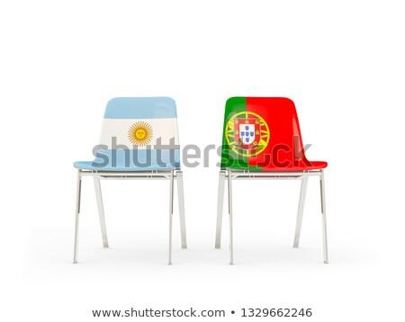 Deux chaises drapeaux Argentine Portugal isolé Photo stock © MikhailMishchenko