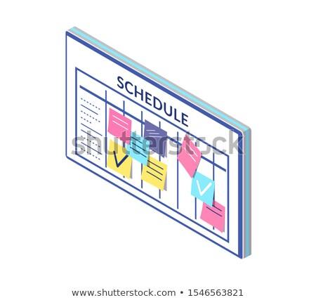 Foto stock: Programar · horário · companhia · trabalhadores · conselho · notas