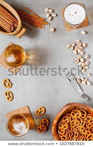 various nuts on stone table top view with copy space stock photo © valeriy