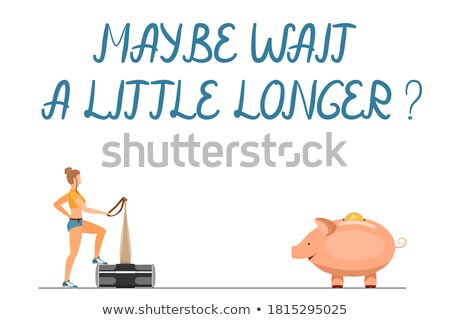 女の子 ハンマー ピンク 豚 貯金 白 ストックフォト © dashapetrenko