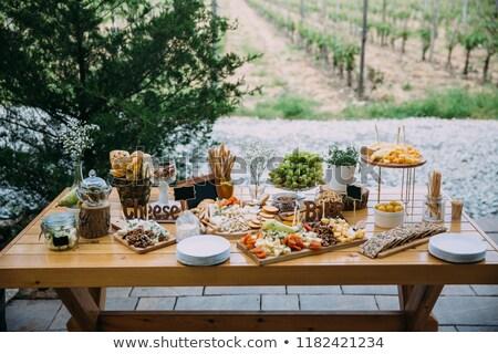 Verscheidene snacks geserveerd verjaardagsfeest bruiloft viering Stockfoto © studiolucky