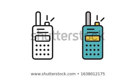 ポータブル ラジオ アイコン ステンシル デザイン 手 ストックフォト © angelp