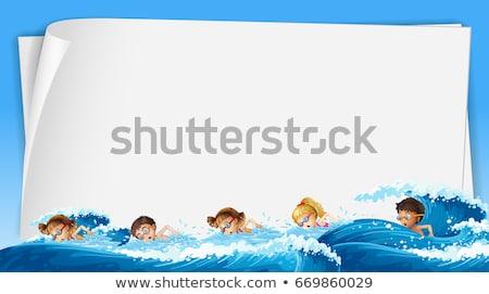 紙 テンプレート 子供 スイミング 海 実例 ストックフォト © colematt