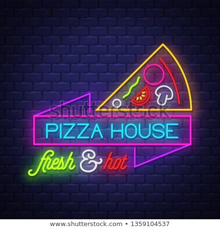 Pizza ev neon vektör tuğla duvar Stok fotoğraf © balasoiu