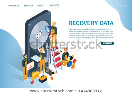 Isometric flat vector concept of data recovery services. Stock photo © TarikVision
