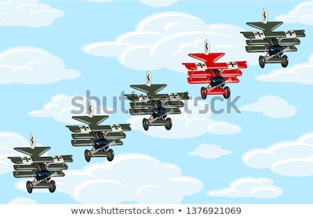 Cartoon Retro Airplane Leader Leadership Concept Unique And Different Concept Stock fotó © Mechanik