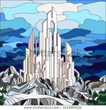 Vector sprookje kasteel koninklijk panoramisch Stockfoto © VetraKori