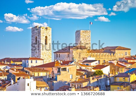 Historic French riviera old town of Antibes seafront and rooftop Stock photo © xbrchx