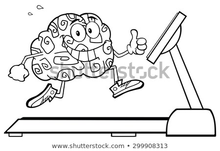 Back And White Healthy Brain Cartoon Character Running On A Treadmill And Giving A Thumb Up Stock photo © hittoon