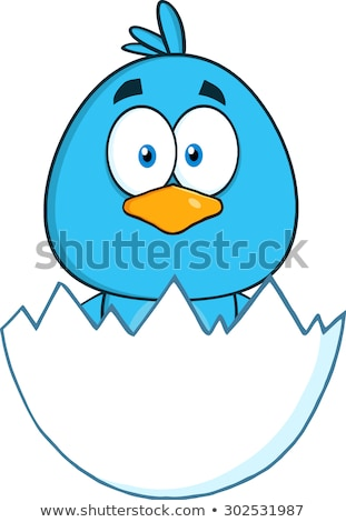Surprised Blue Bird Cartoon Character Hatching From An Egg Stock photo © hittoon