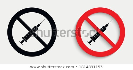 vakcina · figyelmeztető · jel · citromsárga · szöveg · orvosi · felirat - stock fotó © iserg