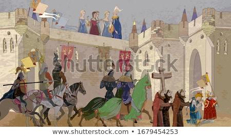 Médiévale château scène illustration herbe bâtiment Photo stock © colematt