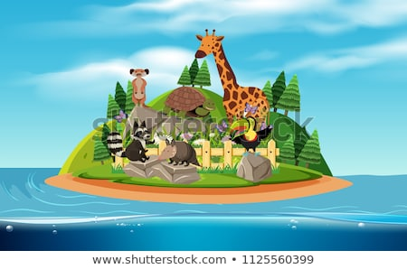 animals on island scene stock photo © colematt
