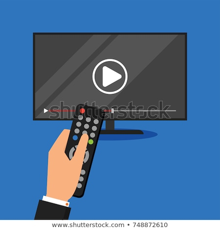 Hand holding remote control. TV icon concept. Play icon on television. Smart TV concept. Flat vector Stock photo © makyzz
