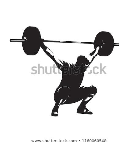 sziluett · súlyemelő · fekete · fehér · épület · test - stock fotó © krisdog