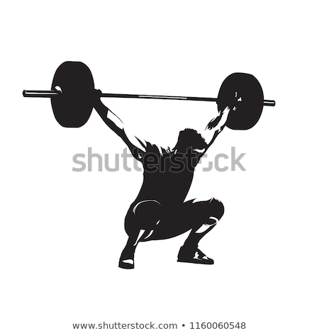 Silhouette Man Weight Lifter Body Builder Barbell Stock photo © Krisdog