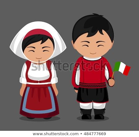 Kid ragazza tradizionale costume bandiera italiana illustrazione Foto d'archivio © lenm