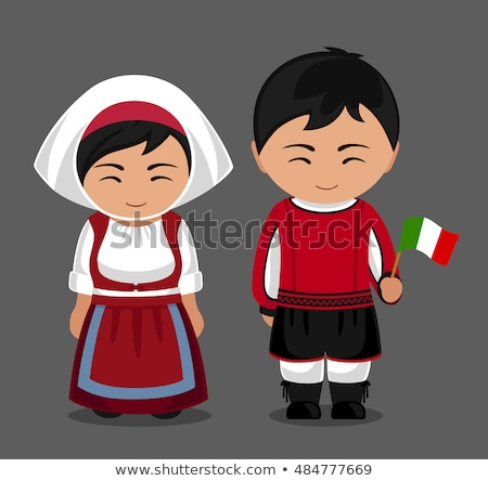 Kid Girl Traditional Costume Italian Flag Illustration Stock photo © lenm
