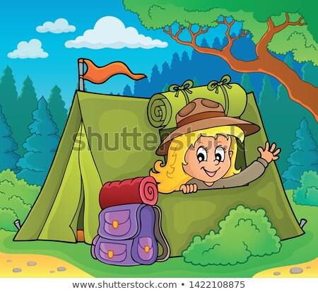 Izci kız çadır mutlu sanat çanta Stok fotoğraf © clairev