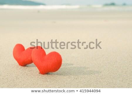 にログイン · ビーチ · 愛 · 赤 · 心臓の形態 · 空 - ストックフォト © andreypopov