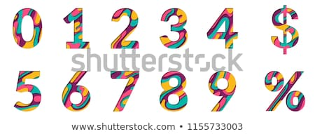 Colorful paper cut out font Number 1 ONE 3D Stock photo © djmilic