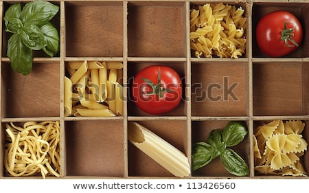 Stock photo: Assorted colorful italian pasta in wooden box
