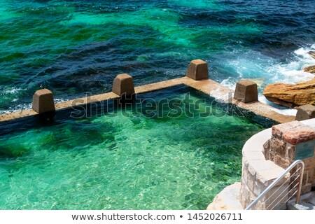 kaya · havuz · soyut · bölüm · uzun · pozlama · su - stok fotoğraf © lovleah