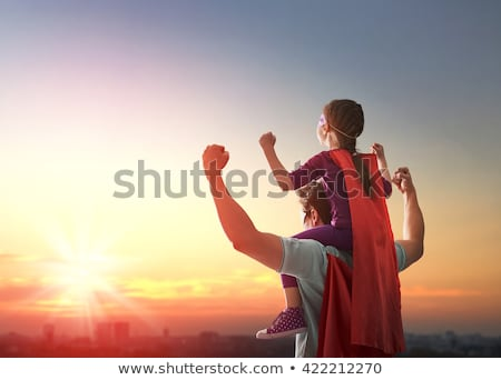 Super hero daddy in superhero costume with children Stock photo © marish