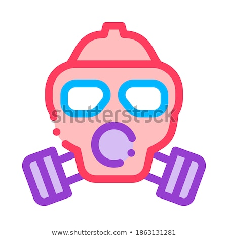 Stock photo: Safe Life Gaz Dirty Air Mask Vector Thin Line Icon