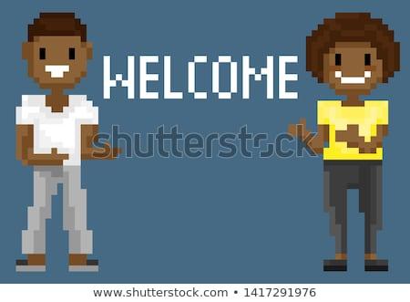 Pixel betűk lövöldözés üdvözlet játék vektor Stock fotó © robuart