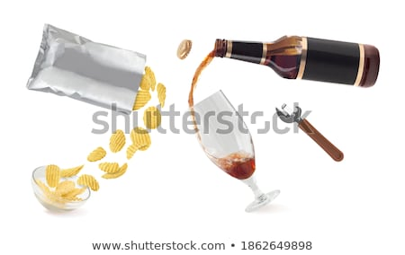 Craft Beer in Bottle and Chips in Bowl Isolated Stock photo © robuart