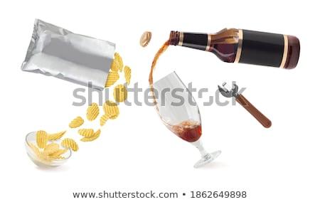 Bierfles chips kom geïsoleerd alcohol drinken Stockfoto © robuart