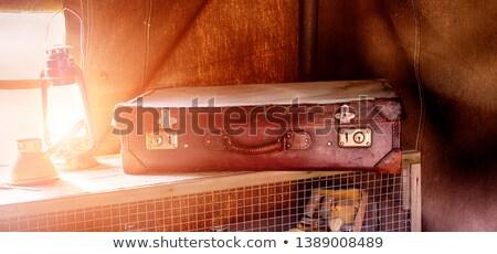 Csendélet öreg bőr bőrönd lámpa utazó Stock fotó © X-etra