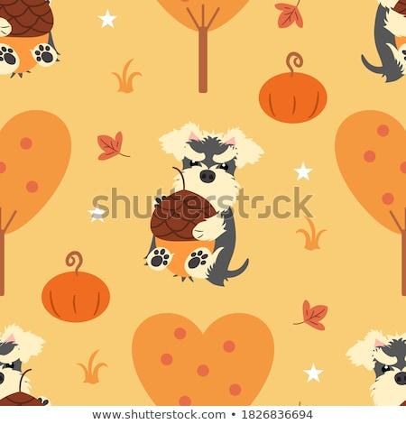 Stock photo: Cartoon cute doodles hand drawn Halloween seamless pattern.
