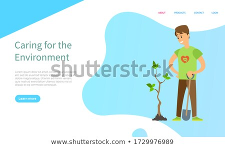 Volunteer Seeding Plant, Man Holding Shovel Vector Stock photo © robuart