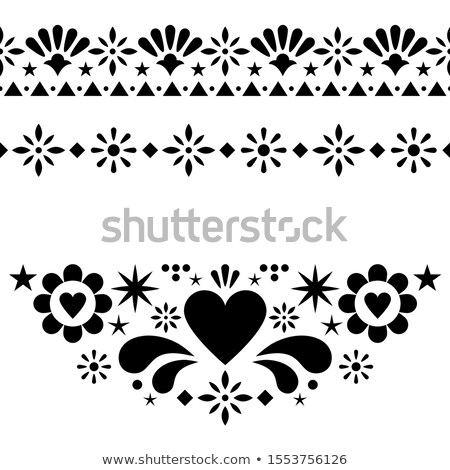 Mexican vector design elements, traditional folk art patterns from Mexico, monochrome greeting card  Stock photo © RedKoala